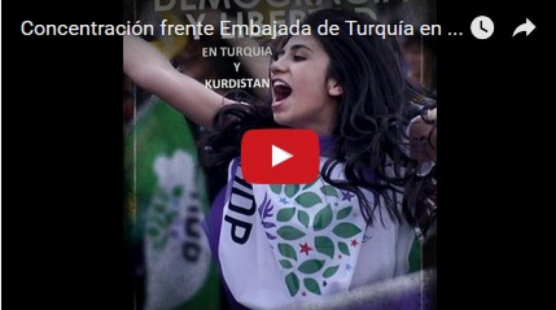 Vídeo: Concentración frente Embajada de Turquía en Madrid (13-11-16)