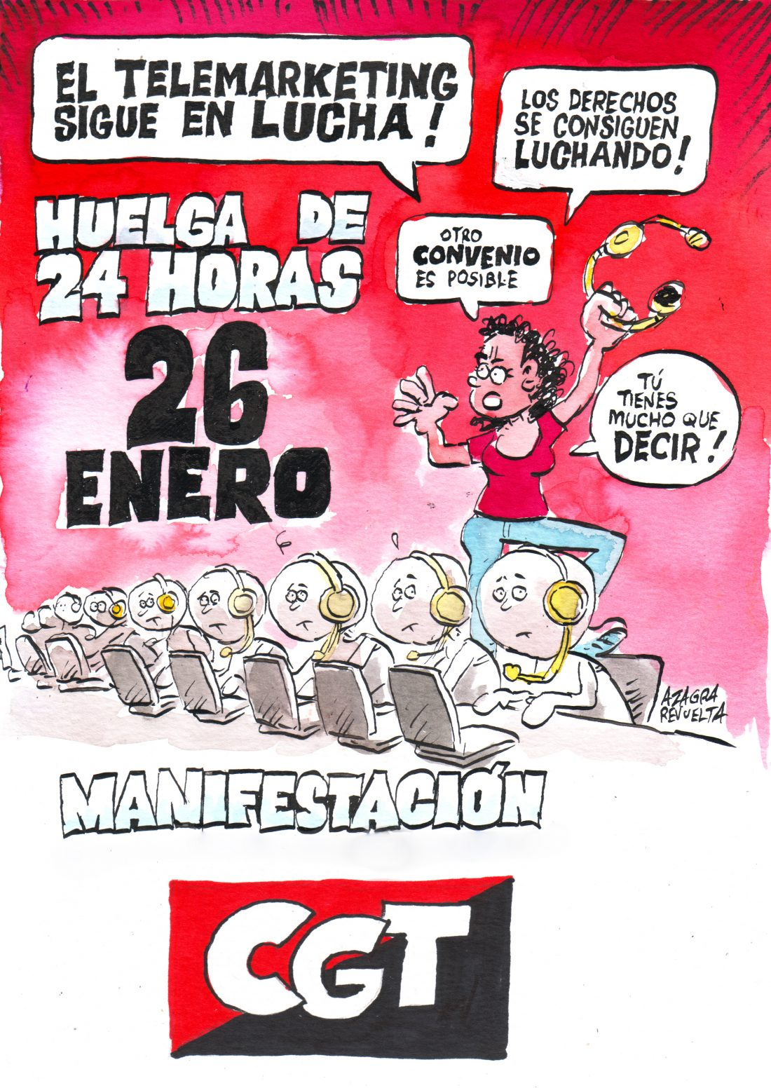 Más de cien mil trabajadores en todo el Estado, convocados a la huelga del Contact Center este jueves 26 de enero