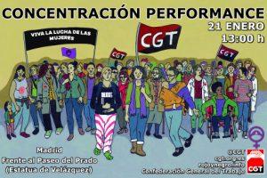 CGT organiza una performance contra las violencias machistas frente al Ministerio de Sanidad