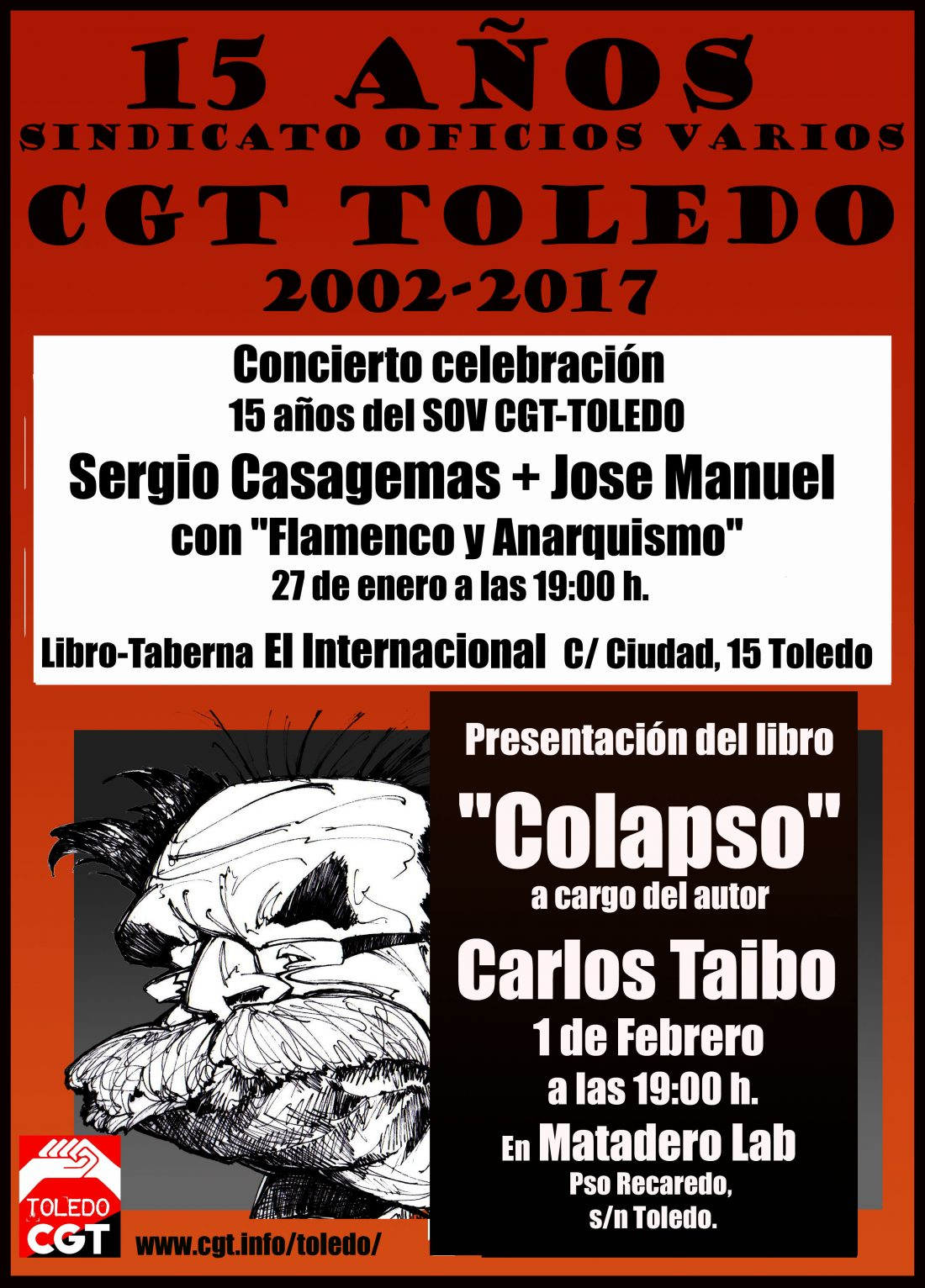 CGT Toledo celebra sus 15 años con música y Carlos Taibo