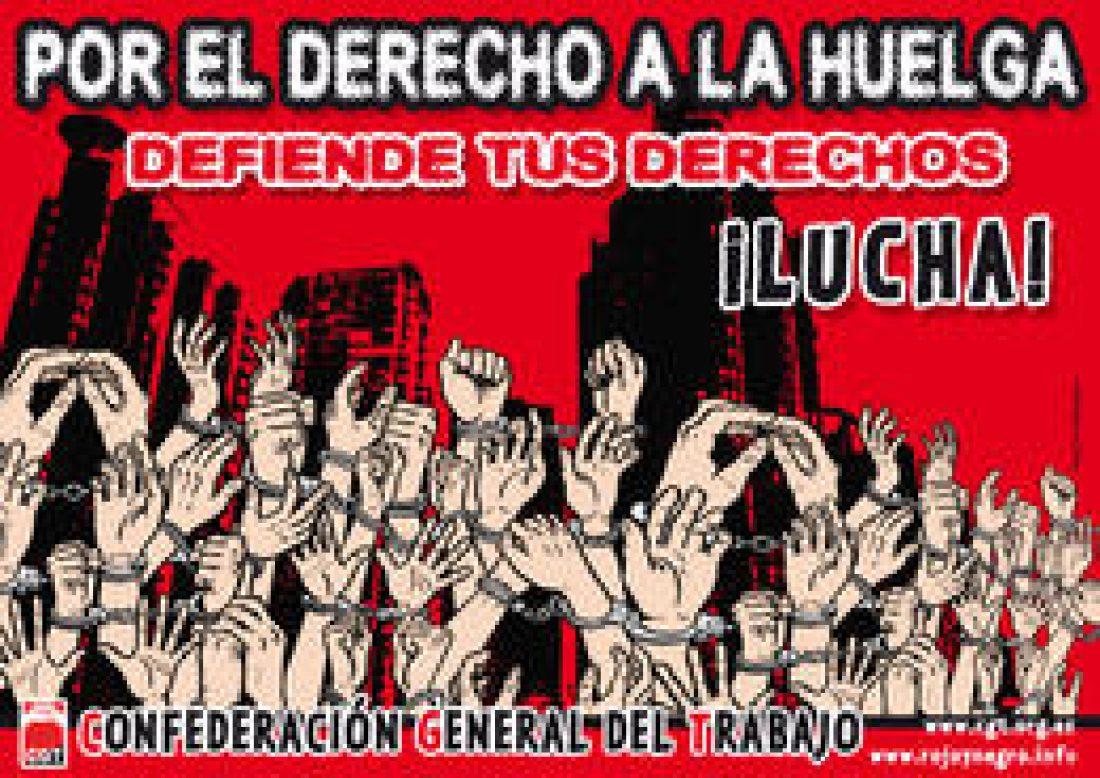 CGT desaprueba la legalización del esquirolaje externo y llama a desobedecer las leyes que vulneran derechos fundamentales