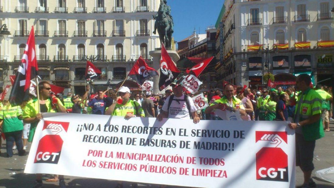 CGT comunica al Ayuntamiento de Madrid el incumplimiento del contrato por parte de la empresa encargada de los servicios de limpieza y jardinería