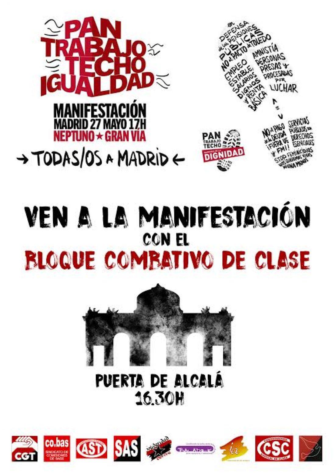 El 27 de mayo, ven a la manifestación con el Bloque Combativo de Clase