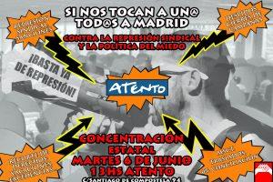 Concentración estatal en Madrid contra la represión en Atento