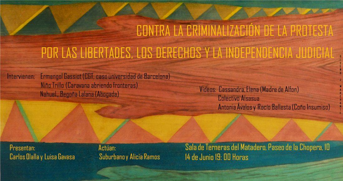 Acto contra la criminalización de la protesta en Madrid