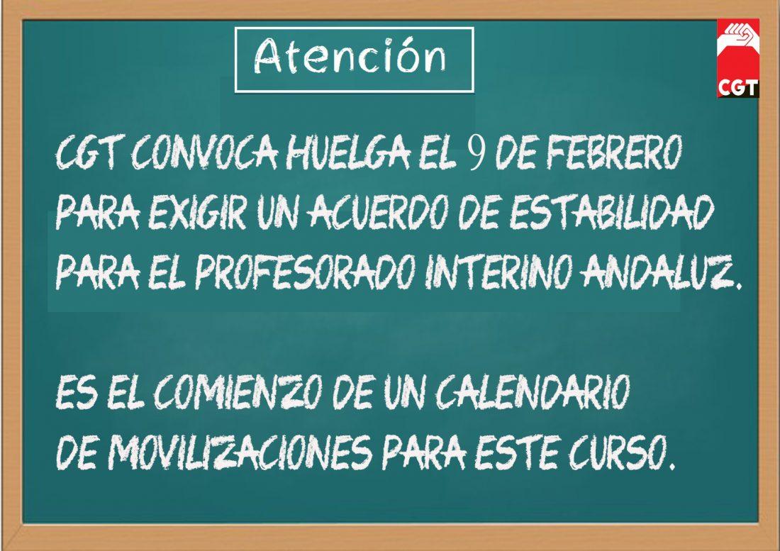 CGT convoca huelga el 9 de febrero en la enseñanza andaluza