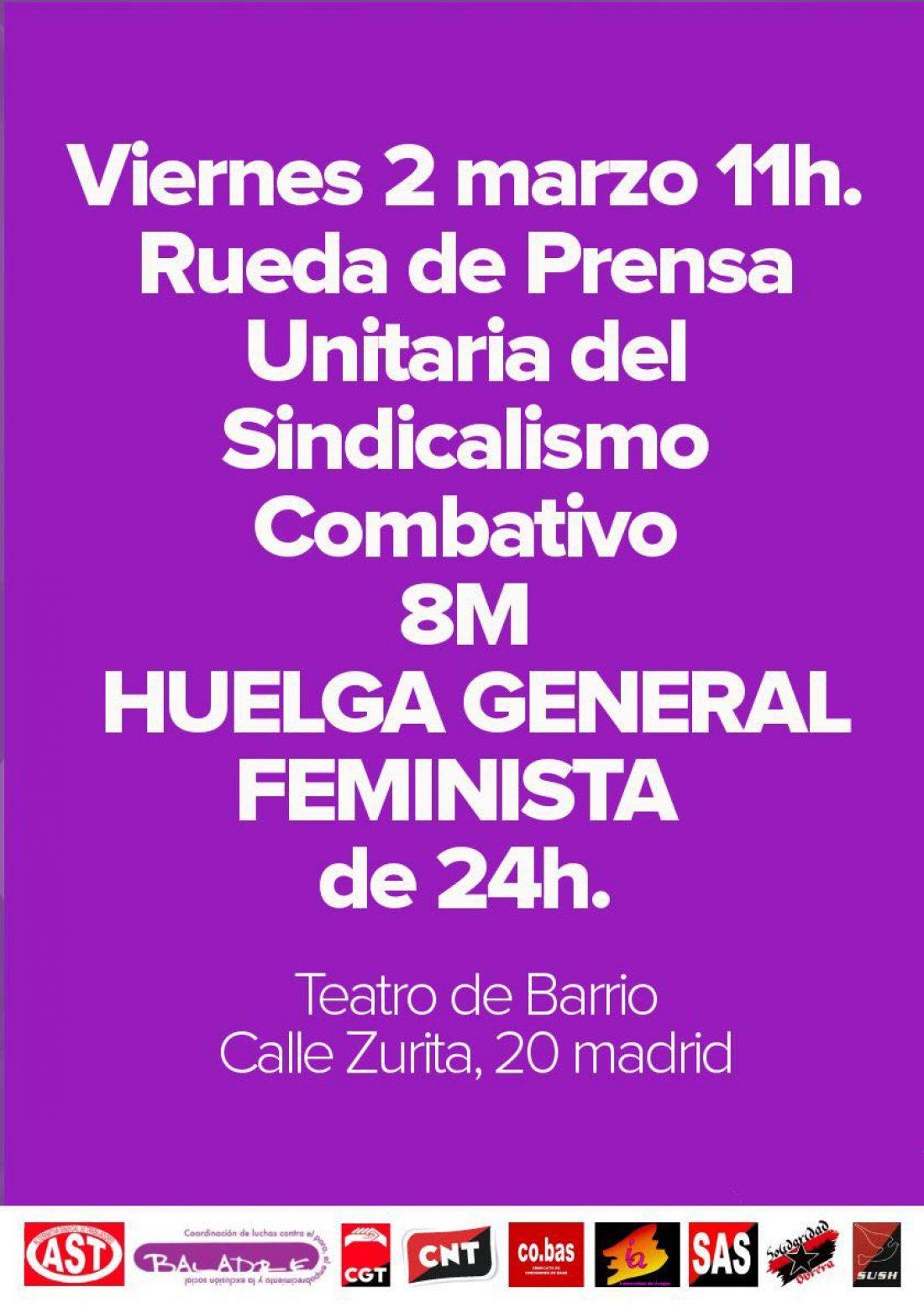 Rueda de prensa: El Bloque Combativo explica las razones para ir a la Huelga General Feminista el próximo 8 de marzo