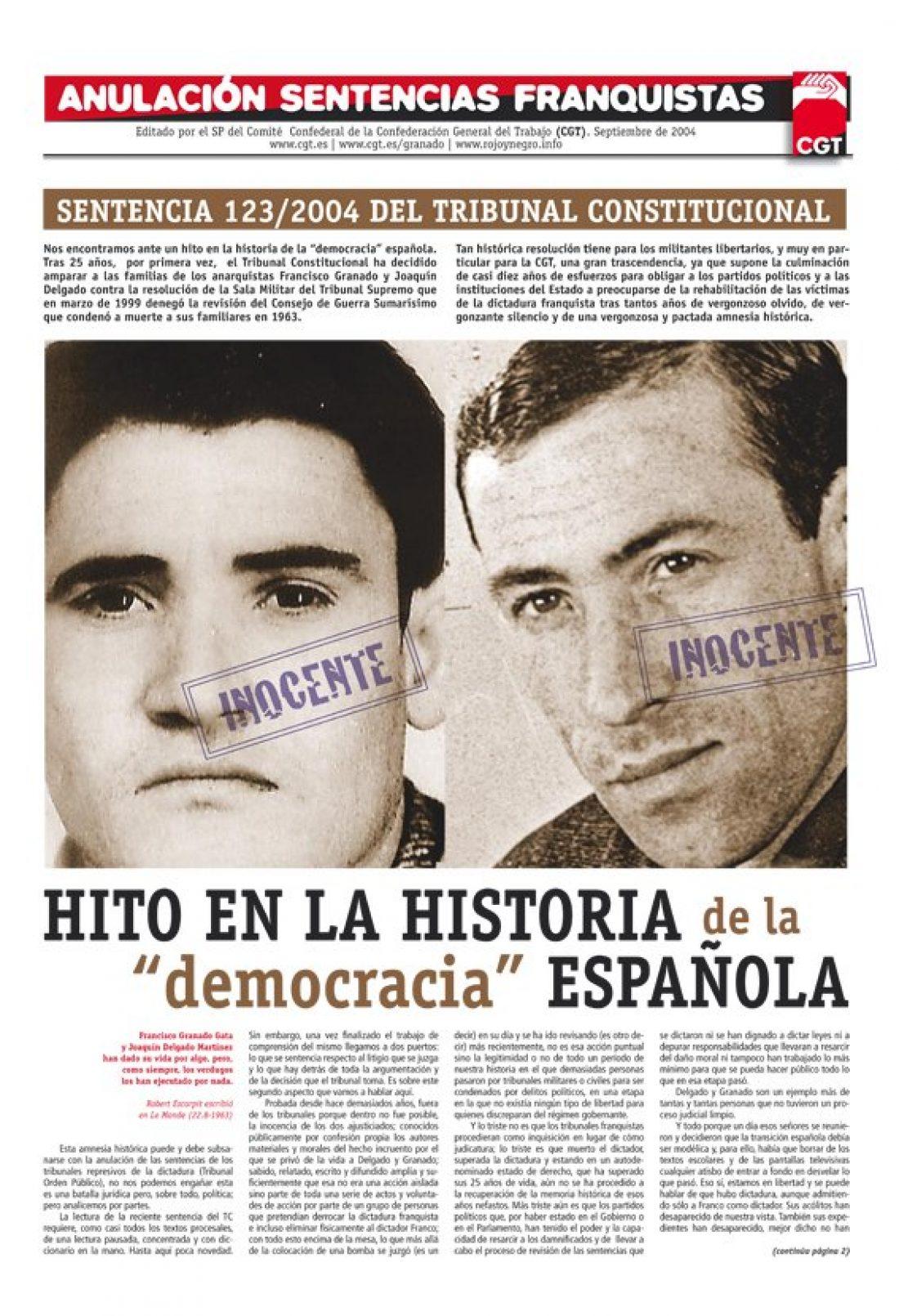 Anulación sentencias franquistas. Especial Granado y Delgado