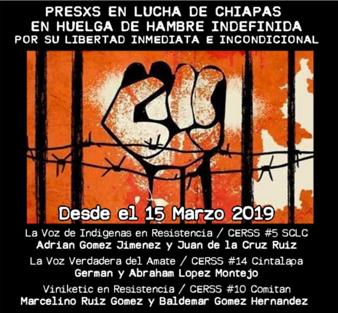 Comunicado sobre la huelga de hambre indefinida de los presos en lucha en Chiapas