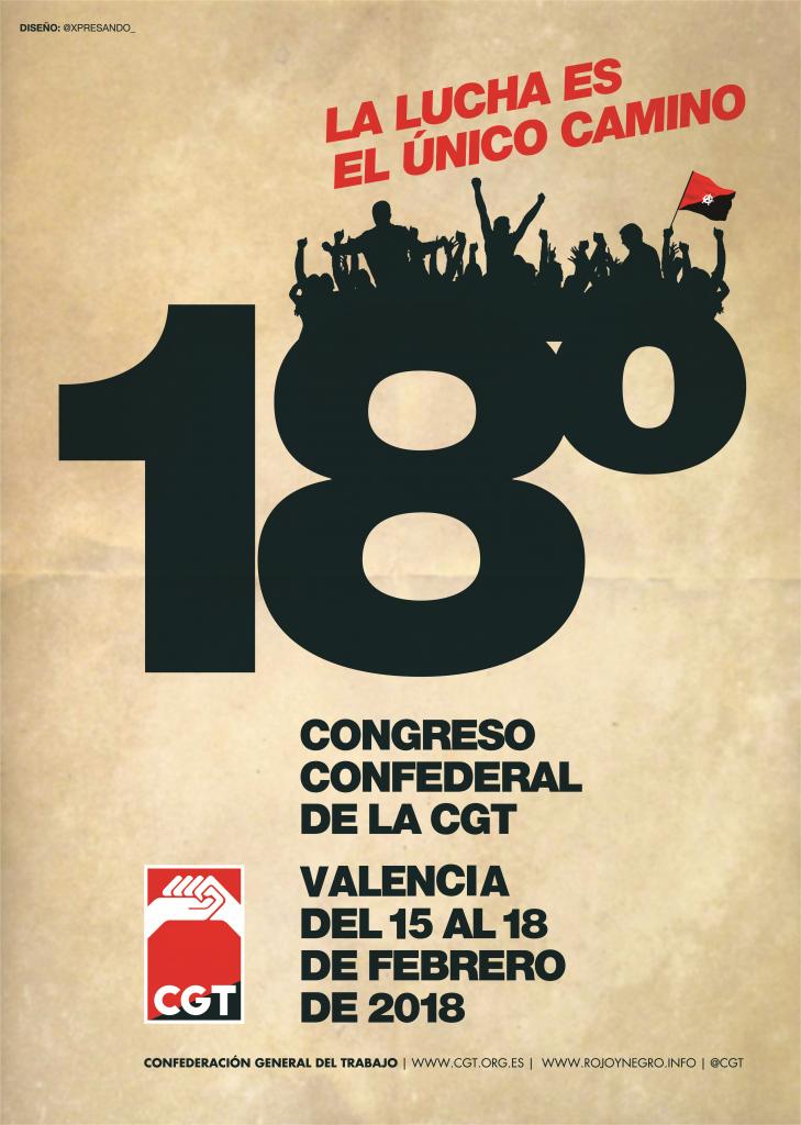 Cartel XVIII Congreso CGT (Pamplona 2018)