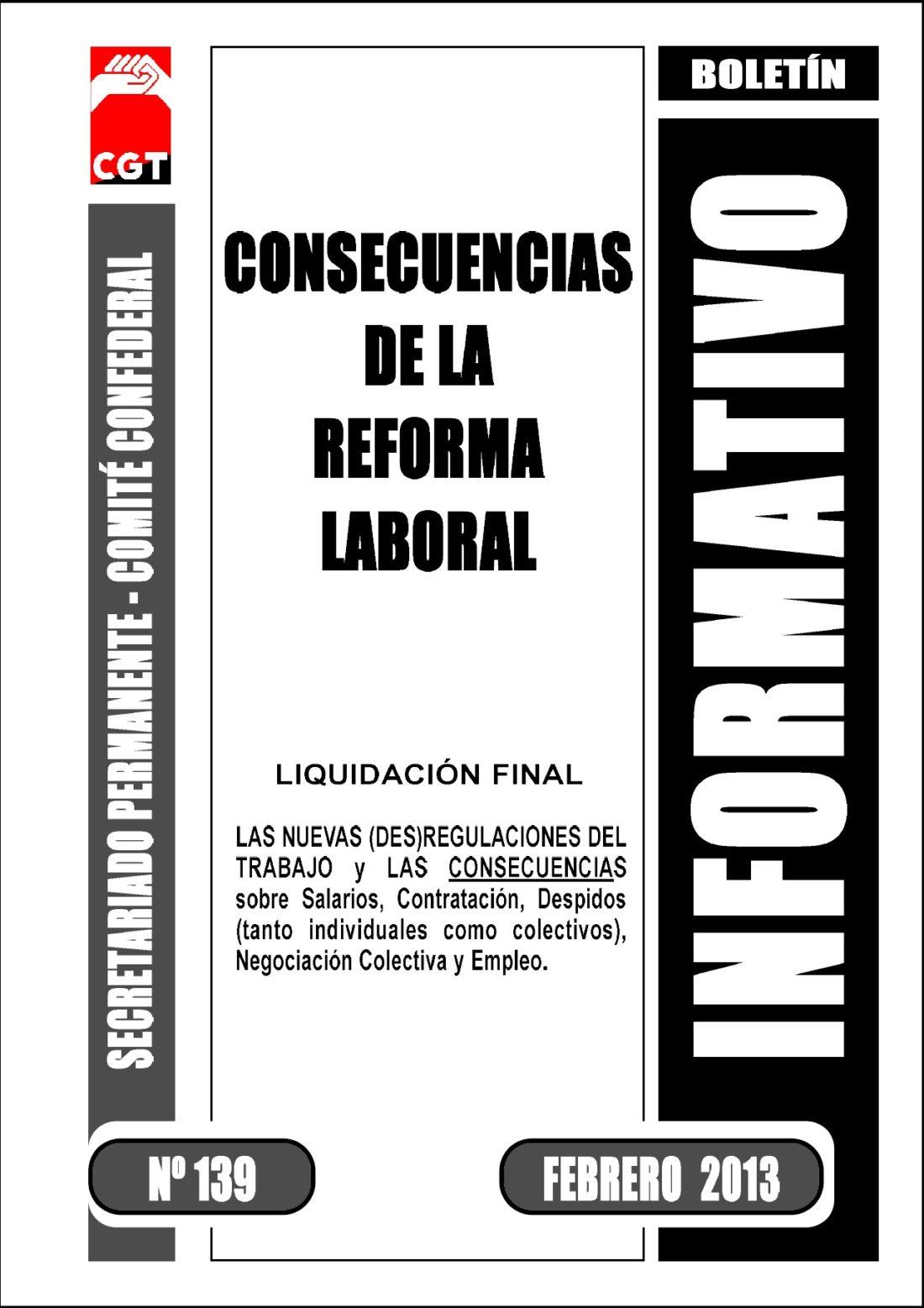 Boletín 139: Consecuencias de la Reforma Laboral