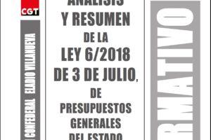 Boletín 158: Análisis y resumen de la Ley 6/2018 de 3 de julio, de Presupuestos Generales del Estado para el año 2018