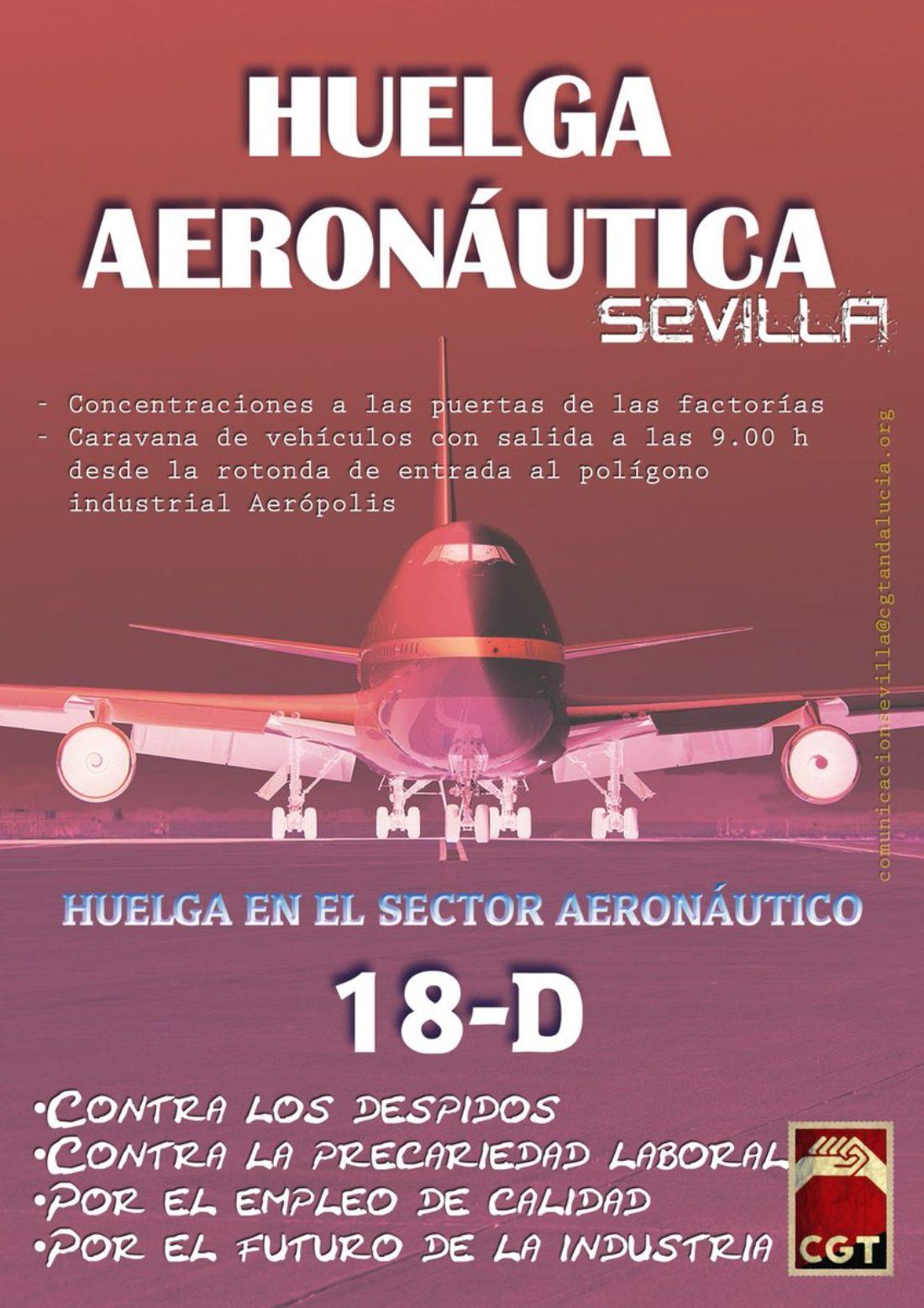 CGT convoca una huelga de 24 horas el próximo 18 de diciembre en las empresas de ingeniería del sector aeronáutico contra los despidos y la precariedad laboral de las plantillas