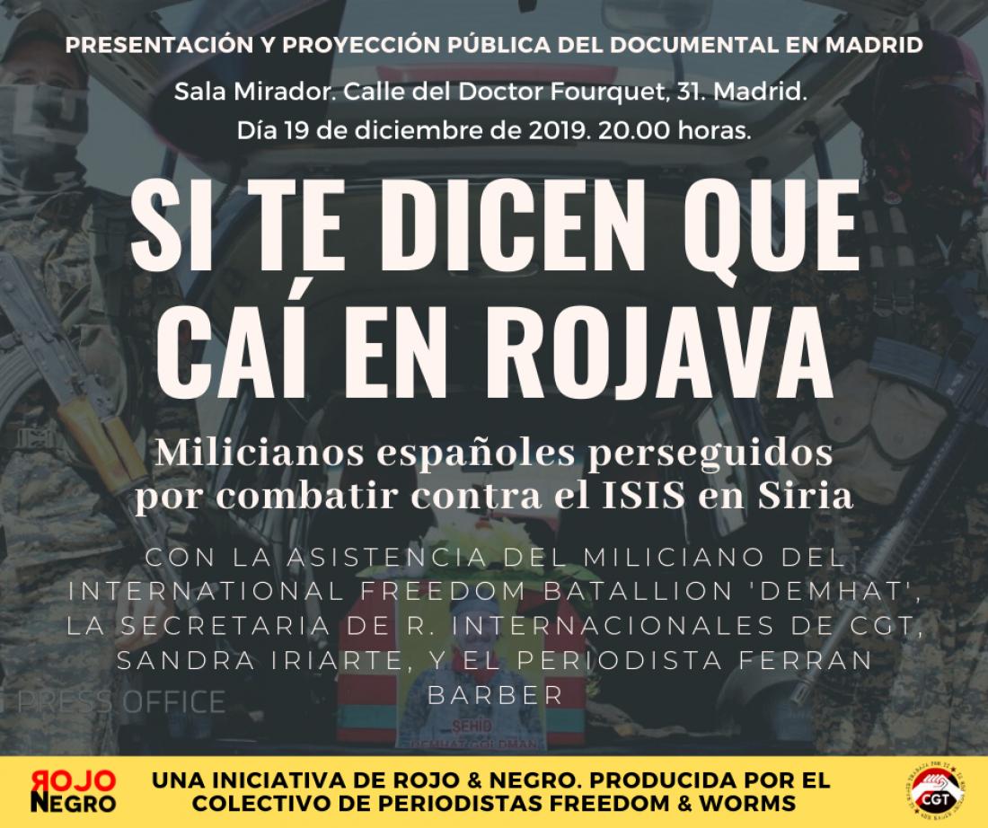 """CGT presenta el documental sobre combatientes españoles internacionalistas en el Kurdistán """"Si te dicen que caí en Rojava"""""""