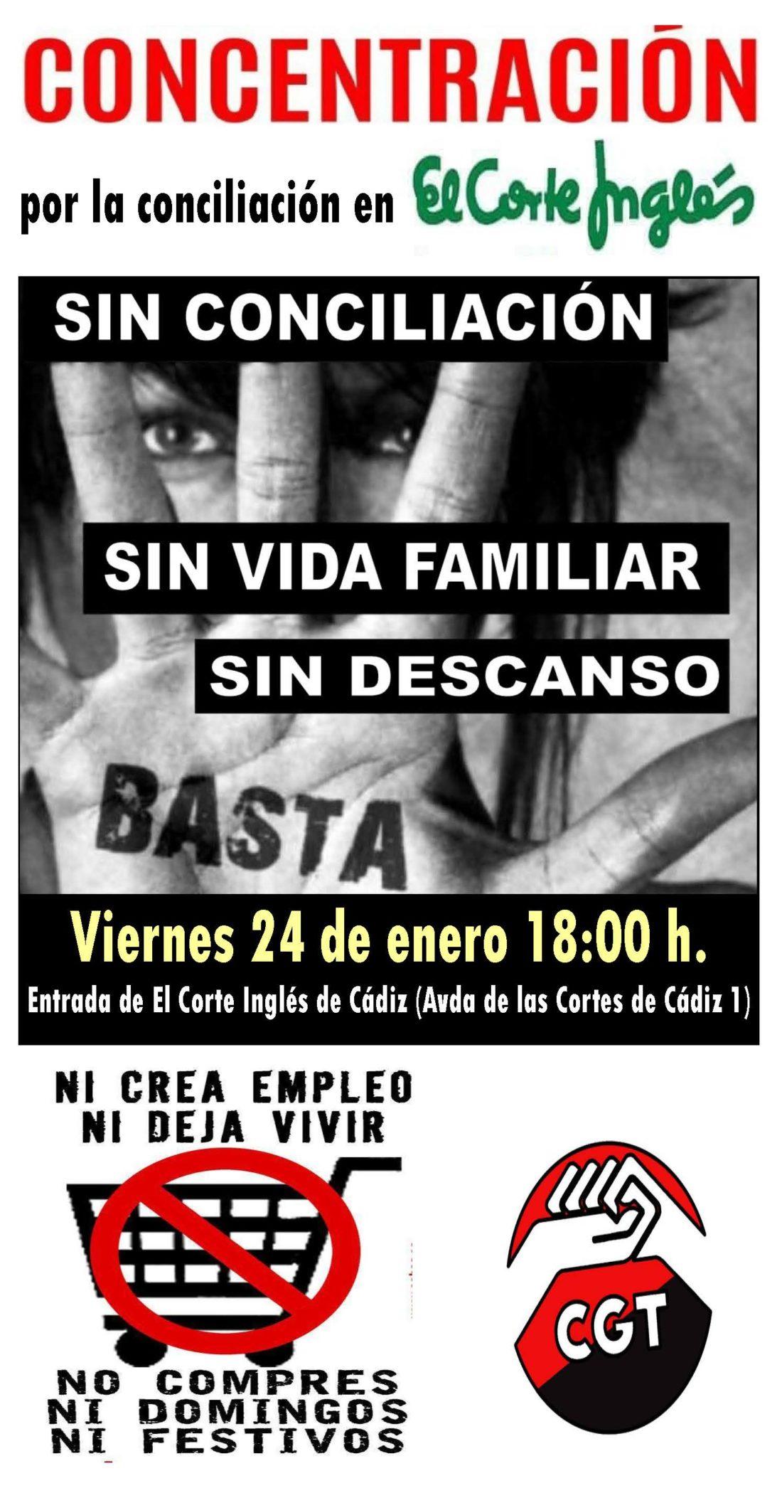 CGT convoca una concentración en el Corte Inglés de Cádiz el viernes 24 de enero a las 18:00 horas para denunciar la  imposibilidad de la conciliación familiar