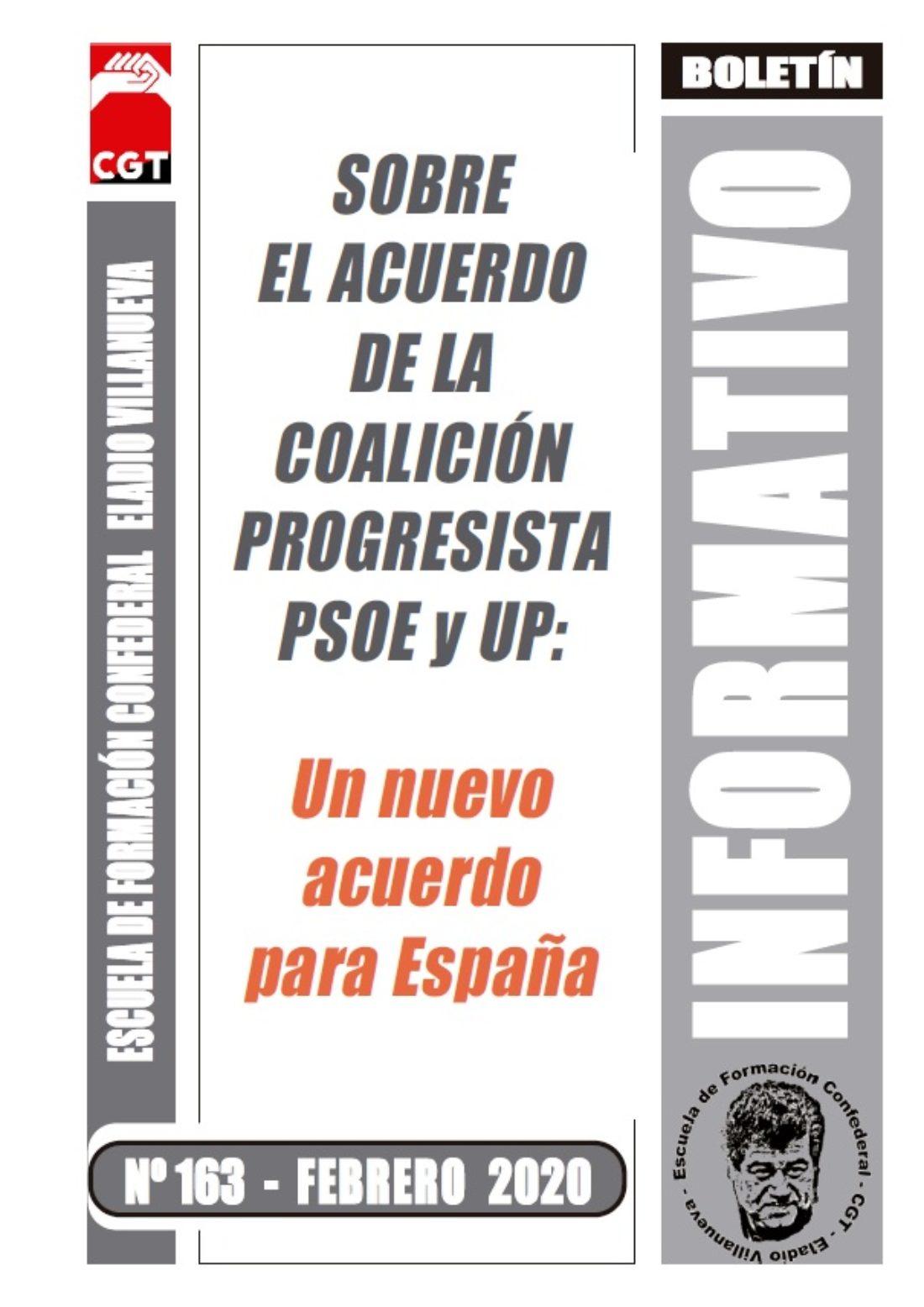 Boletín 163: Sobre el acuerdo de la coalición progresista PSOE y UP: Un nuevo acuerdo para España