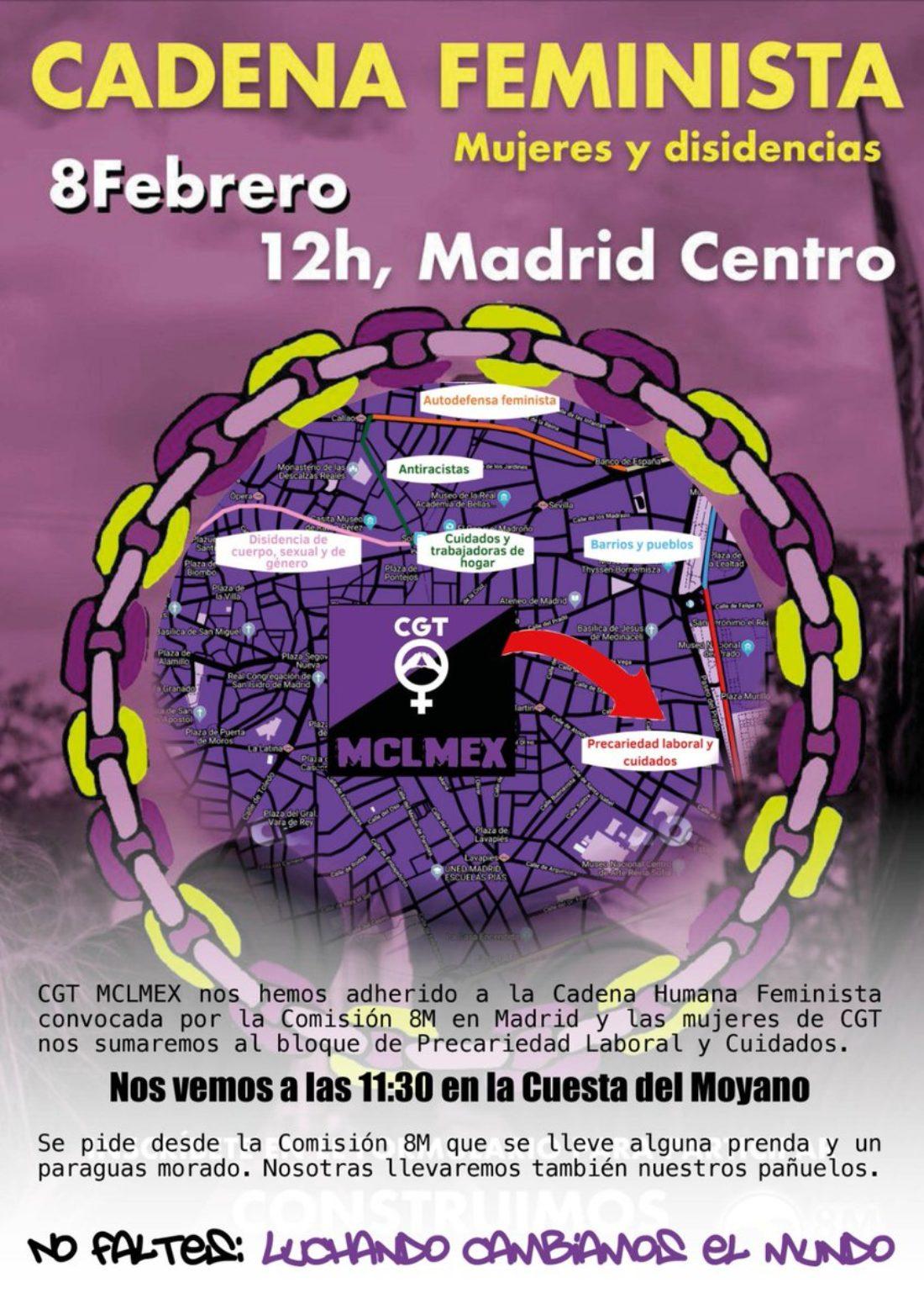 Cadena Feminista 8 Febrero en Madrid