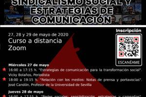 Jornadas formativas sobre sindicalismo social y estrategias de comunicación 27, 28 y 29 mayo 2020
