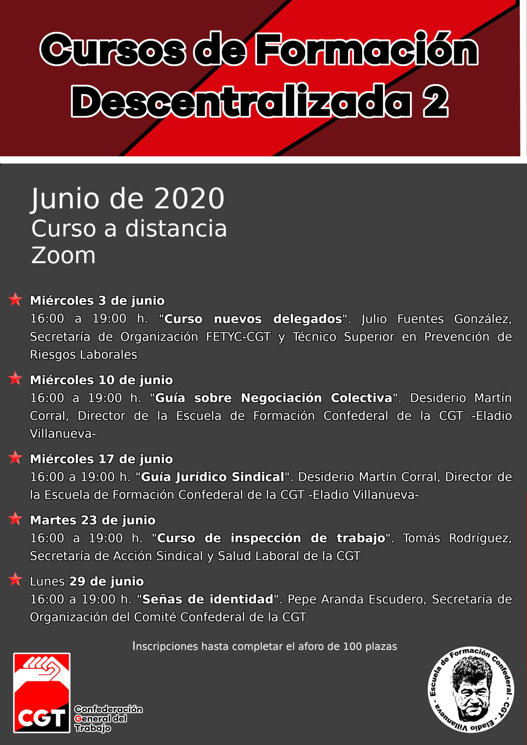 Cursos de Formación Descentralizada junio 2020