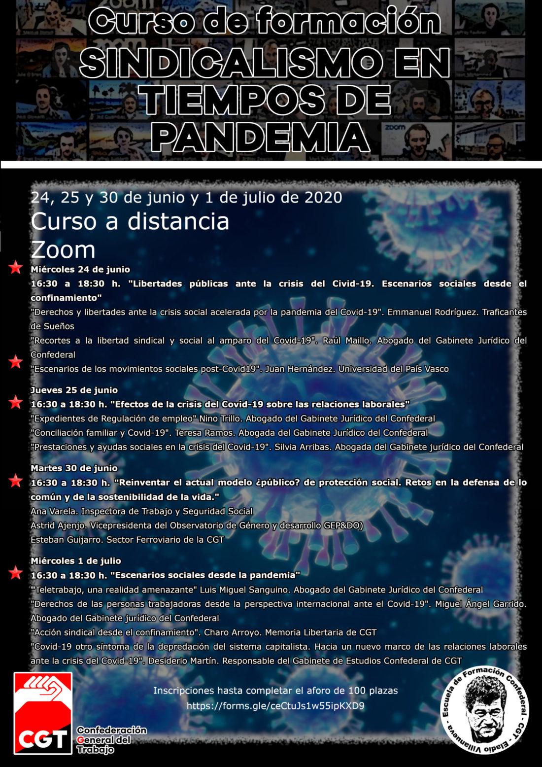 Jornadas formativas sobre sindicalismo en tiempos de pandemia