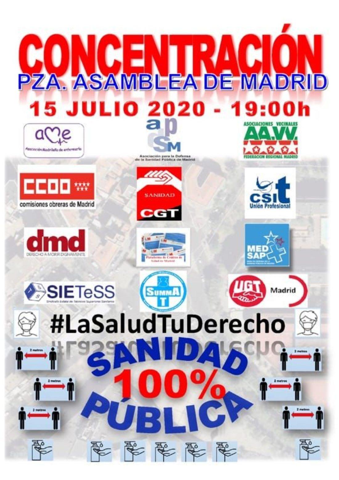 La movilización unitaria por la Sanidad Pública llega a las puertas de la Asamblea de Madrid