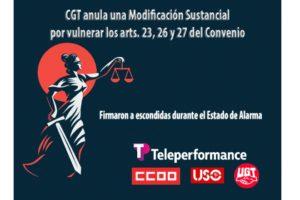 CGT anula una MSCT que vulnera los arts. 23, 26 y 27 del Convenio de Telemarketing, que CCOO, UGT y USO firmaron a escondidas durante el Estado de Alarma