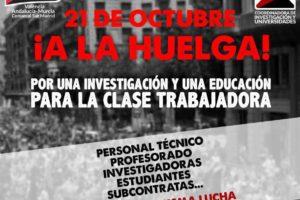 21 de octubre: huelga en la universidad y la investigación