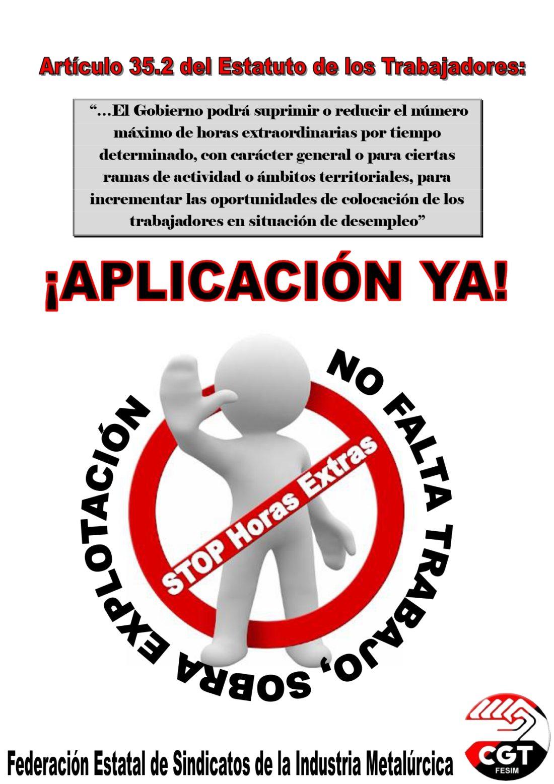 CGT exige al Gobierno de PSOE-UP la aplicación del artículo 35.2 del E.T. sobre supresión de las horas extras